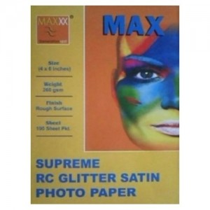 Max 4*6 Supreme RC Glitter Satin Photo Paper 260gsm 100 Sheets