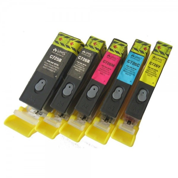 Max Refillable Ink Tank PGI725 Black CLI726 Black Magenta Cyan Yellow Set of 5 For Canon Printer