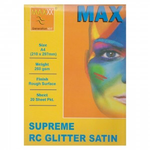 Max A4 Supreme RC Glitter Satin Photo Paper 260gsm 20 Sheets