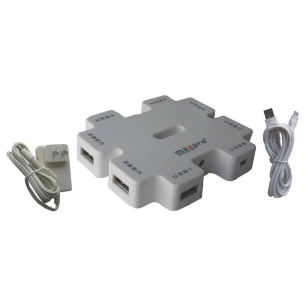 Maxpro SHU011 7-Port Powered USB Hub (White)