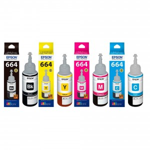 Epson T664-B T664-C T664-M T664-Y Ink Bottle Set