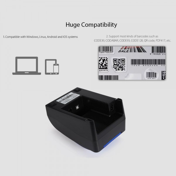 PP-H58 POS 58mm Thermal Receipt Printer (USB / Bluetooth / Android / iOS)