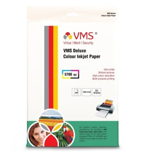 VMS Deluxe Colour High Glossy Inkjet Photo Paper A4 (210 x 297mm) 130 GSM (50 Sheets)