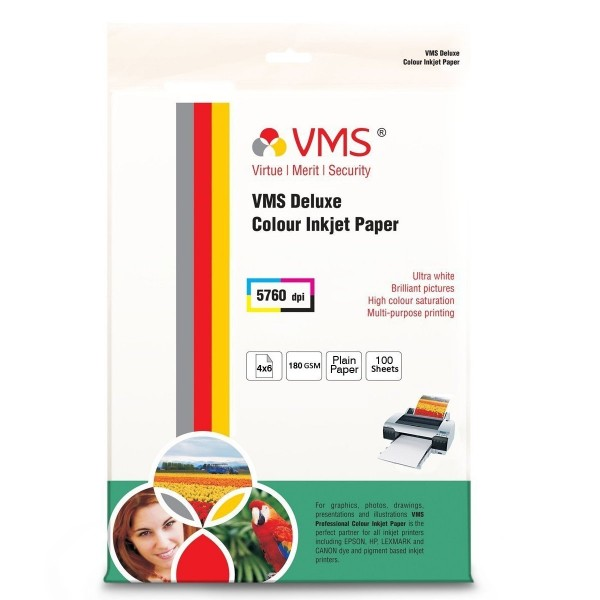 VMS Deluxe Colour Inkjet High Glossy Photo Paper 4R(102 x 152mm) 180 GSM (100 Sheets)