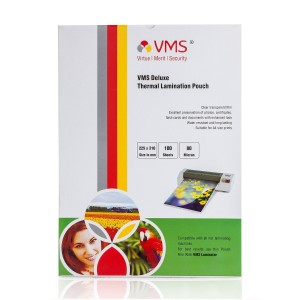 VMS Deluxe Thermal Lamination Pouch (225 x 310mm) 80 Mic (100 Lamination Pouch)