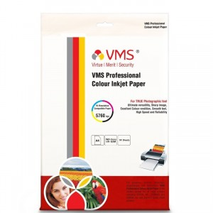 VMS Professional Colour High Glossy Inkjet Photo Paper A4 (210 x 297 mm) 130 GSM (50 Sheets)