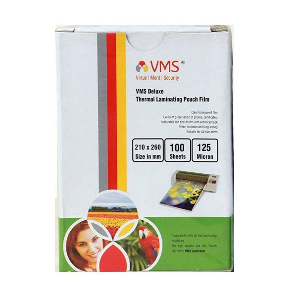 VMS Professional Thermal Lamination Pouch Film 125 Micron (210 x 260 mm)