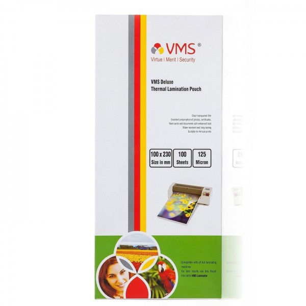VMS Deluxe Thermal Lamination Pouch (100 x 230mm) 125 Mic (100 Lamination Pouch)
