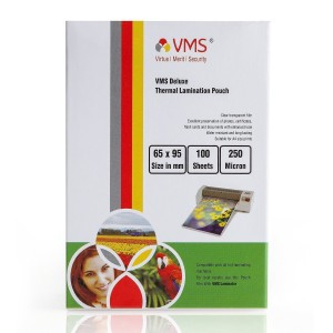 VMS Deluxe Thermal Lamination Pouch (65 x 95mm) 250 Mic (100 Lamination Pouch)