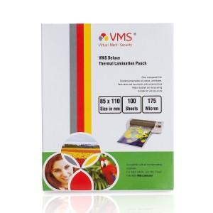 VMS Deluxe Thermal Lamination Pouch (85 x 110mm) 175 Mic (100 Lamination Pouch)