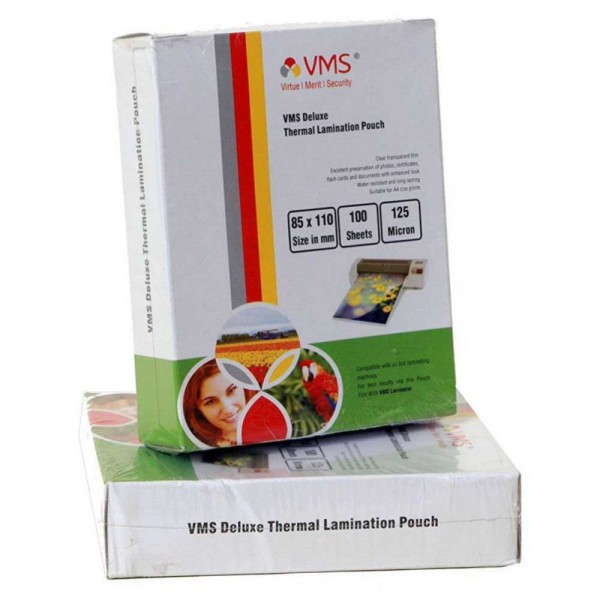 VMS Deluxe Thermal Lamination Pouch (85 x 110mm) 125 Mic (100 Lamination Pouch)