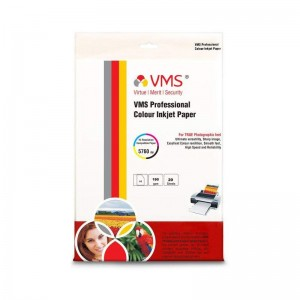 VMS Professional Colour High Glossy Inkjet Photo Paper A4 (210 x 297 mm) 180 GSM (20 Sheets)