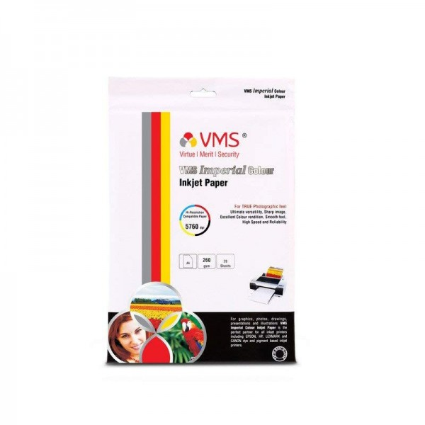 VMS Imperial Colour High Glossy Inkjet Photo Paper A4 (210 x 297 mm) 260 GSM (20 Sheets)