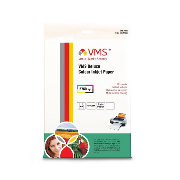VMS Deluxe Colour High Glossy Inkjet Photo Paper A4 (210 x 297mm) 150 GSM (20 Sheets)