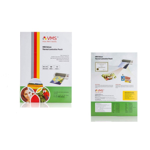 VMS Deluxe Thermal Lamination Pouch (225 x 310mm) 115 Mic (100 Lamination Pouch)