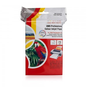 VMS Professional Colour High Glossy Inkjet Photo Paper 4R (102 x 152mm) 210 GSM (100 Sheets)