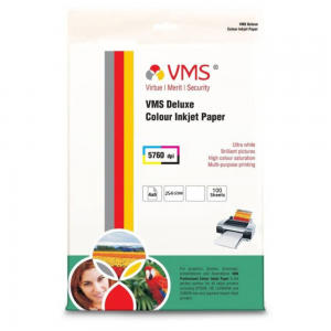 VMS Deluxe Colour Resin Coated Inkjet Photo Paper 4R (102 x 152mm) 254 GSM (100 Sheets)