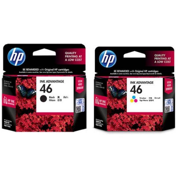 HP 46 Black & Tri-Color Original Ink Advantage Cartridges For HP DeskJet 2020hc 2520hc Printer