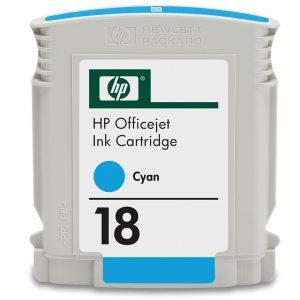 HP 18 Cyan Original Ink Cartridge (C4937A) (OEM Pack)