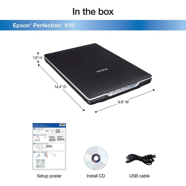 Epson Perfection V19 Color Photo and Document Flatbed Scanner