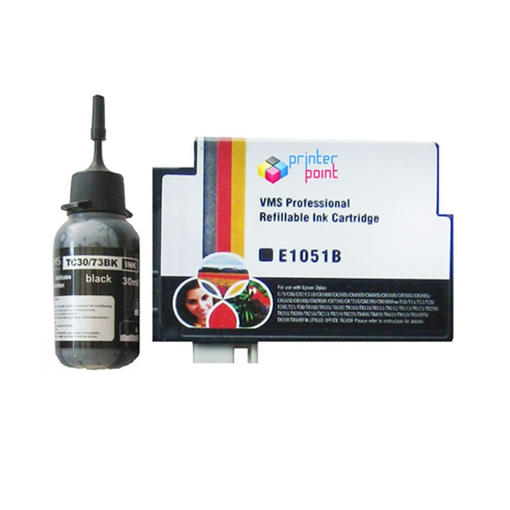 Max 73N Black Refillable Ink Cartridge with 30ML Ink For Epson Printer