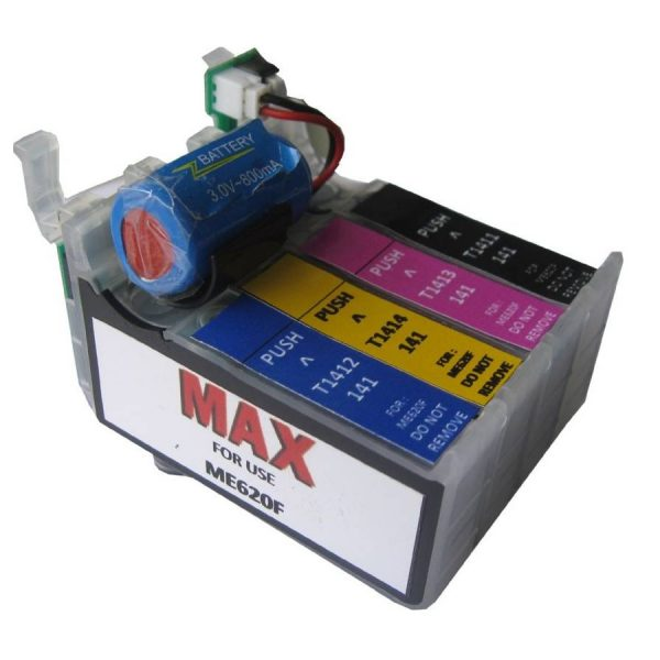 Max 141 (T1411-T1414) Refillable Ink Cartridge Set For Epson ME620F ME960FWD Printer