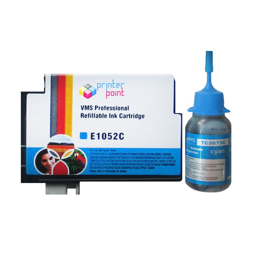 Max 73N Cyan Refillable Ink Cartridge with 30ML Ink For Epson Printer