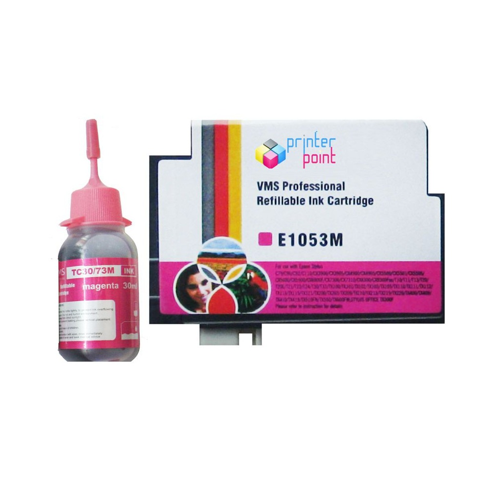 Max 73N Magenta Refillable Ink Cartridge with 30ML Ink For Epson Printer