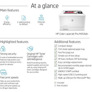 HP Color LaserJet Pro M454dn Printer (W1Y44A)