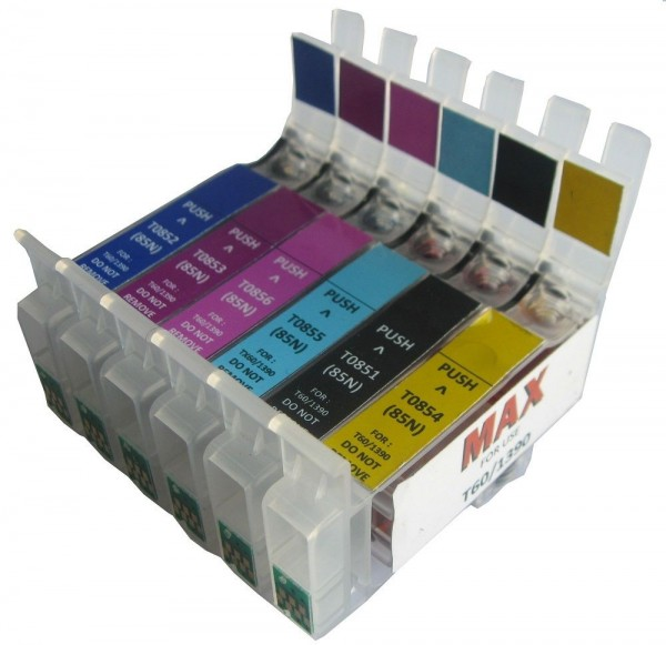 Max T0851 T0852 T0853 T0854 T0855 T0856 Refillable Cartridge Without Ink For Epson Stylus 1390 T60 Printer
